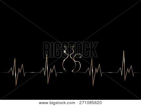 poster of Golden Cat Silhouette In Audio Wave Or Sound Wave Design. Vector Linear Representation Of Gold Cat I