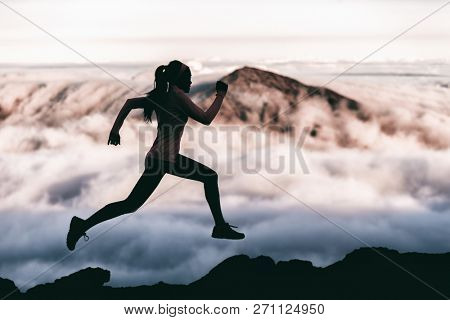Trail runner athlete silhouette running