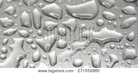 Mercury on textural metal surface