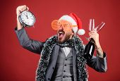 Corporate Christmas Party. Lets Celebrate Winter Holiday. Boss Santa Hat Celebrate New Year Or Chris poster