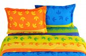 Colorful bed spreads. Isolated