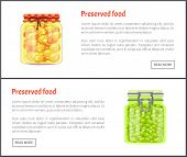 Preserved Food Pea Posters With Text Set. Homemade Meal Confiture Conserved In Glass Jars. Vegetable poster