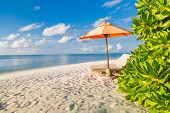 Idyllic Beach Scene With Two Beach Chairs And Umbrella On White Sand. Perfect Beach Panorama, Blue S poster