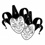 Original Vector Illustration Of Theatrical Masks On A White Background. Comedy And Tragedy, Vintage  poster
