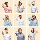 Collage of group people, women and men over colorful yellow isolated background confuse and wonder a poster
