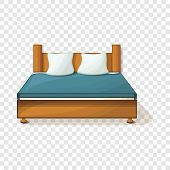 King Size Bed Icon. Cartoon Of King Size Bed Vector Icon For Web Design poster