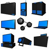 Information Technology Business Industry Icons Set - Black Blue