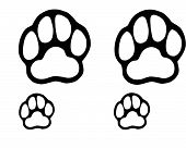 foto of paw-print  - Drawn dog paws in black on a white background - JPG