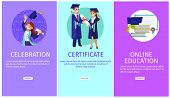 Vector Concept Illustration Cartoon Happy Students. Banner Set Vertical Image Topic Celebration, Cer poster