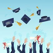 Vector Concept Illustration Cartoon Happy Students. Image Group Students Hand Throwing Up Academic H poster