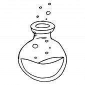 Jar With Liquid And Bubbles Hand Drawn. Vector Illustration Of A Jar. Jar With Bubbles Icon. poster