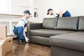 Delivery Man Move Furniture Carry Sofa For Moving To An Apartment. Professional Worker Of Transporta poster