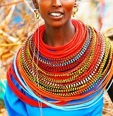 AFRICA, KENYA, SUMBURU, NOVEMBER 8:Portrait of Sumburu  woman wearing traditional handmade accessori
