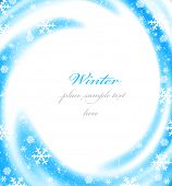 Abstract Christmas border card decoration with blue winter ornament as holiday frame background