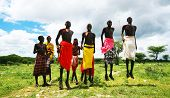 KENYA, AFRICA - NOVEMBER 8: African warriors dance in traditional jumps as a cultural ceremony, typi