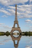 Breathtaking Reflection Of The Eiffel Tower Seen From The Trocadero Fountain In Paris In France poster