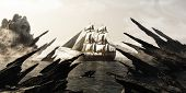 Search For Skull Island. Pirate Or Merchant Sailing Ship Sailing Toward A Mysterious Foggy Skull Sha poster