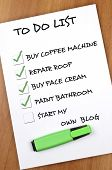 To do list met Start mijn eigen blog niet gecontroleerd