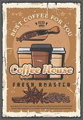 Coffee Drinks Retro Poster, Paper Cups And Beans With Condiments. Cinnamon And Anise Star For Fragra poster