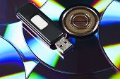 Usb stick on group of cd
