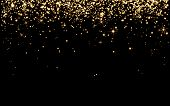Abstract, Background, Birthday ,black ,bright ,bright Yellow Particles, Shine On Black Background ,h poster