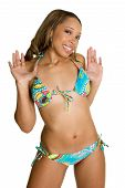 stock photo of bikini model  - Beautiful young african american female bikini model - JPG
