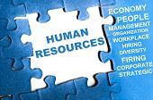 image of human resource management  - Human resource blue puzzle pieces assembled - JPG
