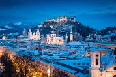 Classic View Of The Historic City Of Salzburg With Famous Festung Hohensalzburg And Salzach River Il poster