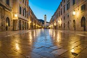 Classic Panoramic View Of Famous Stradun, The Main Street Of The Old Town Of Dubrovnik, In Beautiful poster
