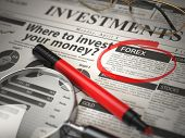 FOREX is the best option to invest. Where to Invest concept, Investmets newspaper with loupe and mar poster