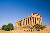 greek temple at the sunset