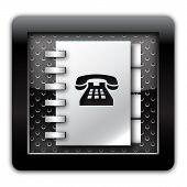 Adress book telephone numbers metallic icon
