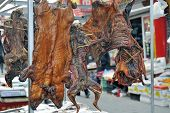 Butcher Shop With Various Meats As Peking Duck,chicken,pig In Beijing, China poster