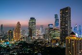 Bangkok City - Aerial View  Beautiful Sunset  Bangkok City Tower Downtown Skyline Of Thailand , City poster