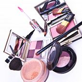 makeup collection on white background