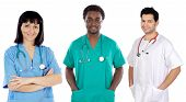 picture of medical staff  - Team of young doctors a over white background - JPG