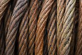 Rusty iron rope coil closeup