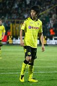LVIV, UKRAINE - SEPTEMBER 16: FC Dortmund Borussia player Shinji Kagawa during the Europa League foo