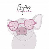 Cute Pig With Enjoy Every Moment Quote. Happy Life Funny Piglet Drawing. Animal Cartoon Character Il poster