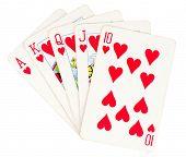 Flush royal cards isolated on white background