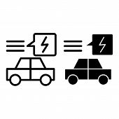 Electric Car Line And Glyph Icon. Ecology Automobile Vector Illustration Isolated On White. Ecology  poster