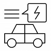 Electric Car Thin Line Icon. Ecology Automobile Vector Illustration Isolated On White. Ecology Trans poster