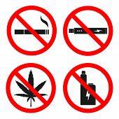 No Smoking, No Vaping, No Hemp Sign. Vector. poster