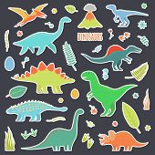 Dinosaurs Set For Stickers. Types Of Dinosaurs. poster