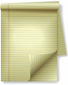 Yellow Legal Pad Corner Paper Page Curl Spotlight