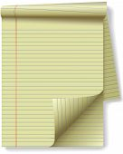 Yellow Legal Pad Corner Paper Page Curl