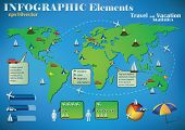 Infographic Travel Elements on a green world map for air, road and sea transport and travel destinat