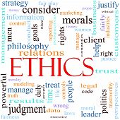 image of ethics  - An illustration around the word Ethics with lots of different terms such as philosophy relations trust manage judgment leader politics morals justice leader and a lot more - JPG