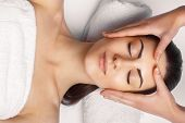 Face Massage.  Close-up Of Young Woman Getting Spa Massage Treatment At Beauty Spa Salon.spa Skin An poster