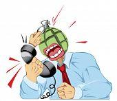 Mann schreit am Telefon, wird Kopf wie Bombe, sie sprengen